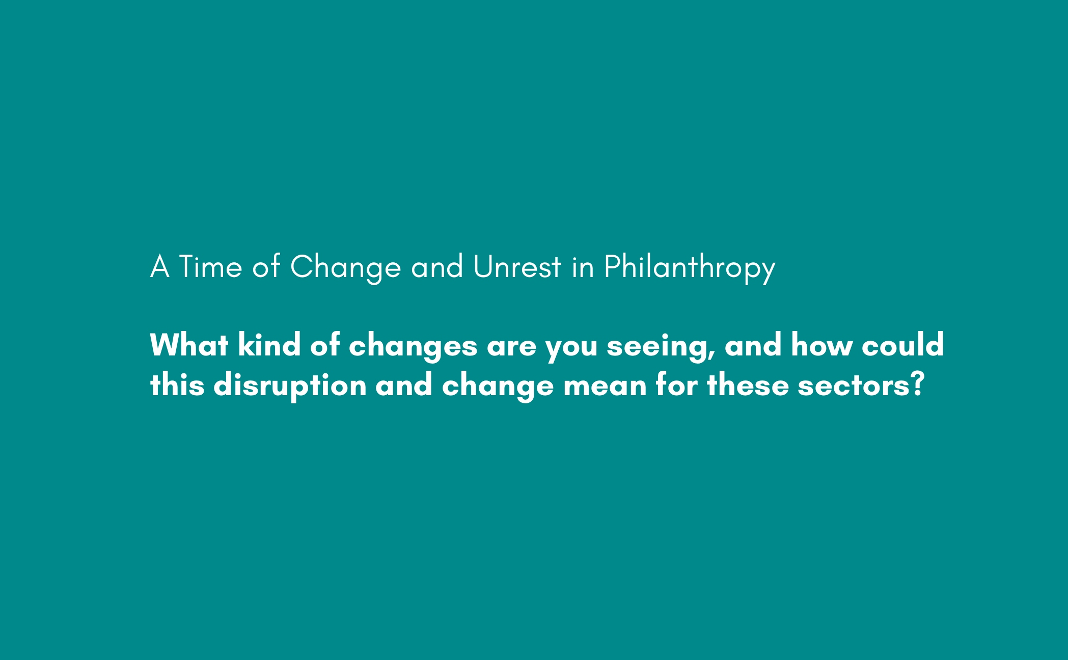 2020 Webinar Changing Role of Philanthropy