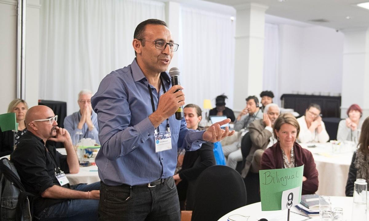Man speaking at gathering