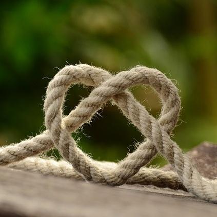 Rope making heart shape
