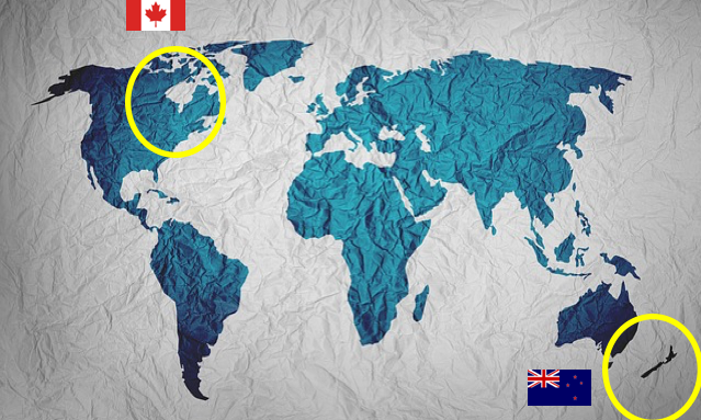 World Map with Canada and NZ