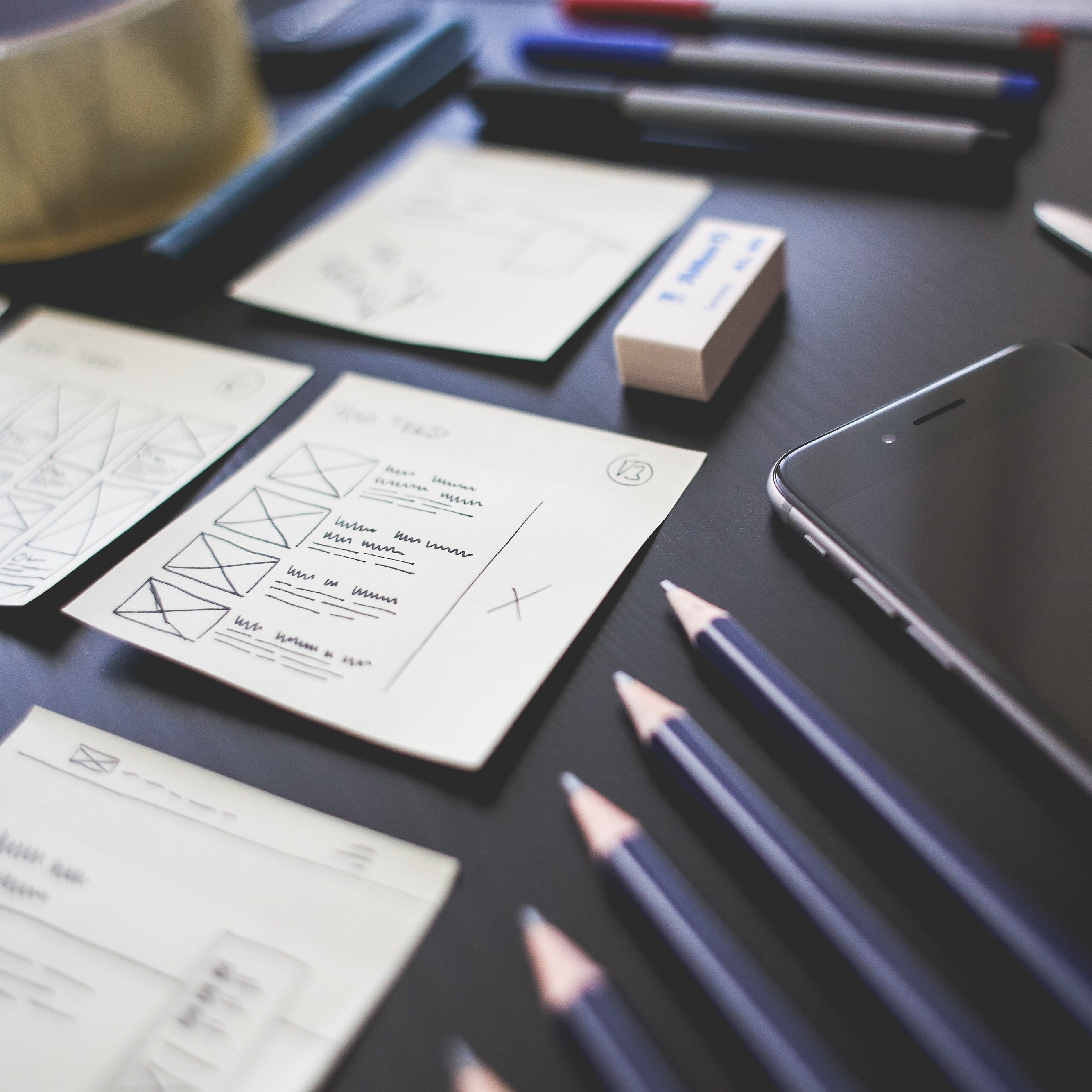 checklists and pencils on desk