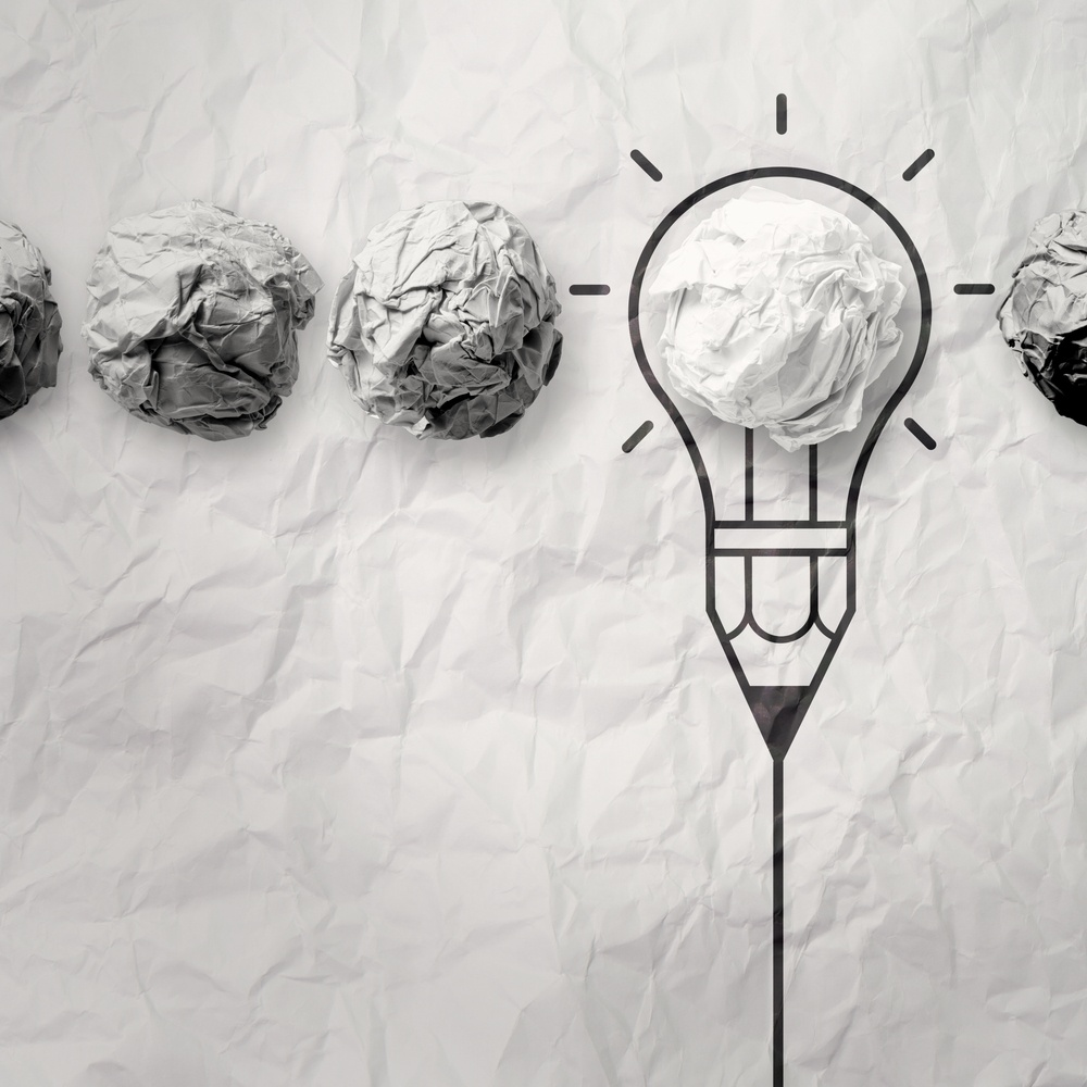 light bulb crumpled paper in pencil light bulb as creative concept-1