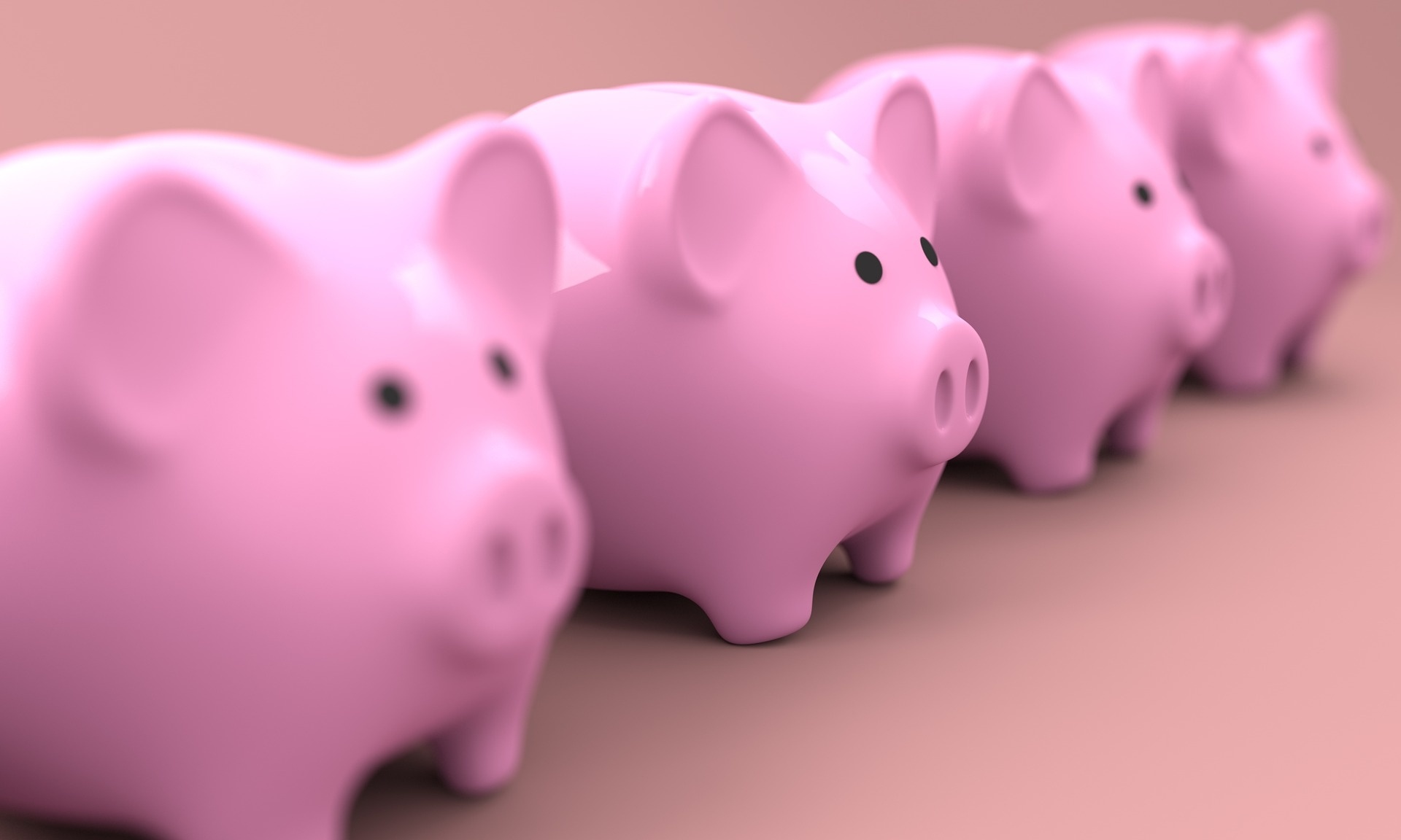 piggy banks in a line