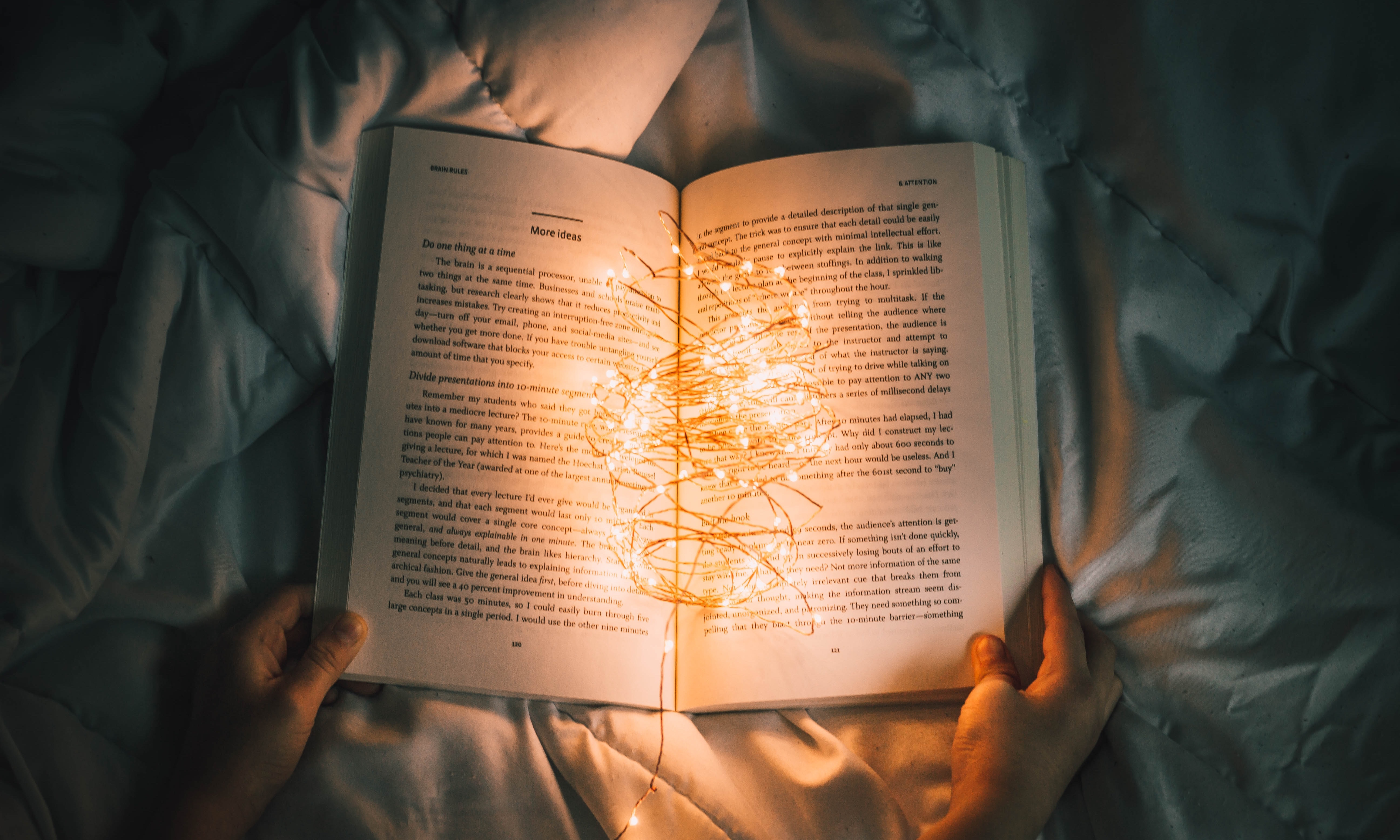 Book with lights on it