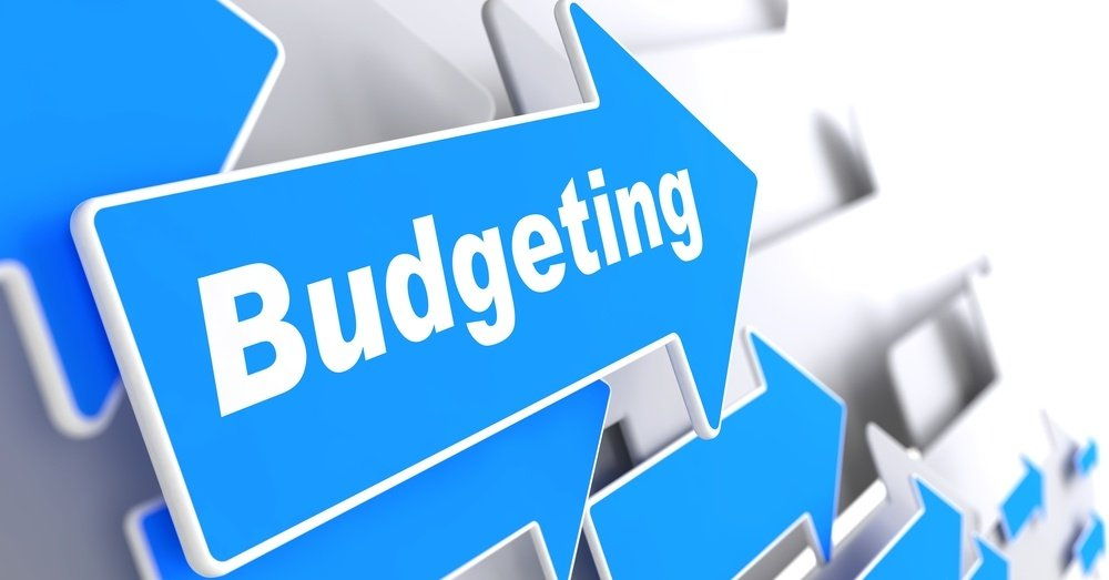 Budgeting - Business Concept. Blue Arrow with