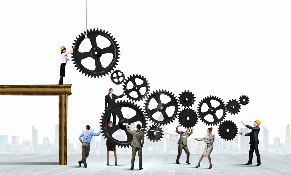 Conceptual image of businessteam working cohesively. Interaction and unity.jpeg